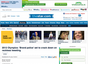 "2012 Olympics: ""Brand Police"" set to crack down on reckless tweeting"